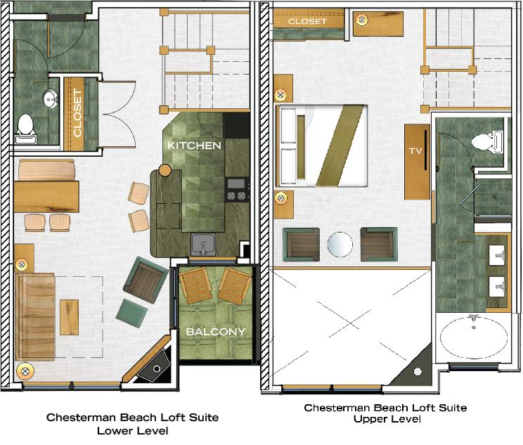 Chesterman Beach Loft floorplan
